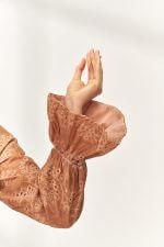 Bohem Nakışlı Cotton Bluz Turuncu