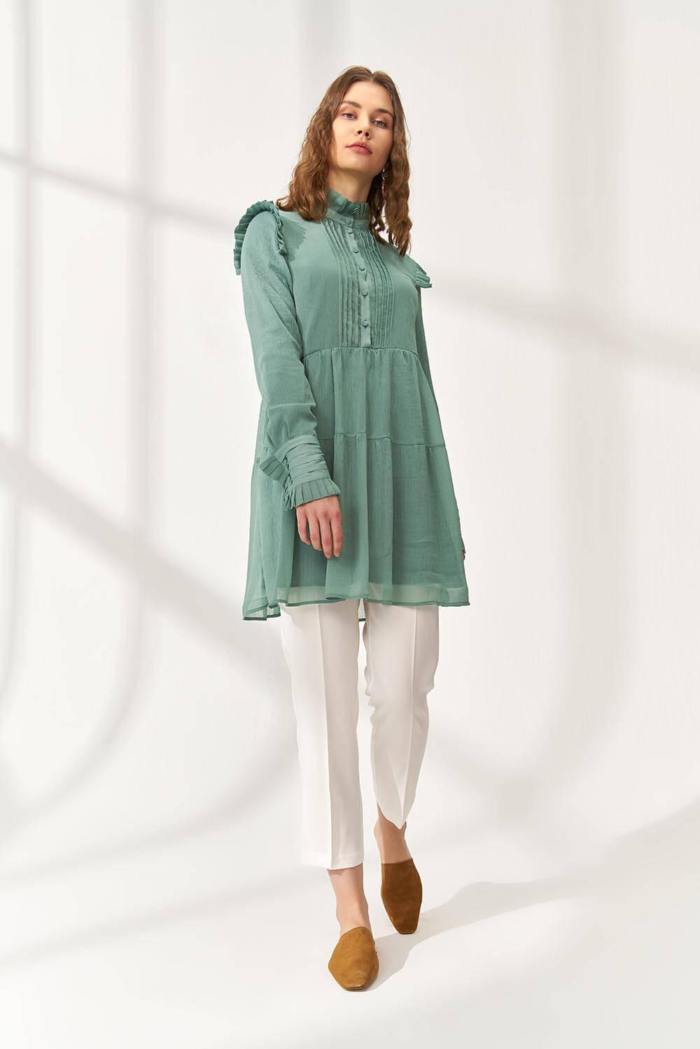 Pleated Şifon Bluz Yeşil