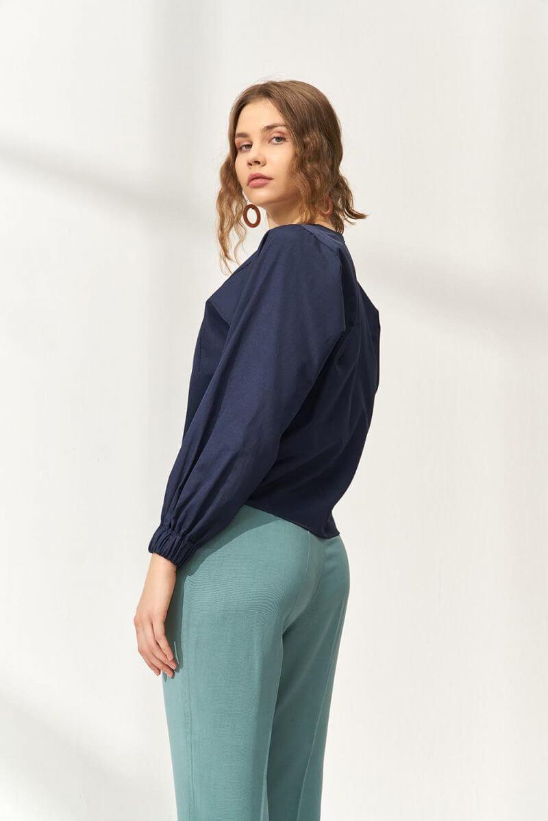 Basic Bluz Lacivert