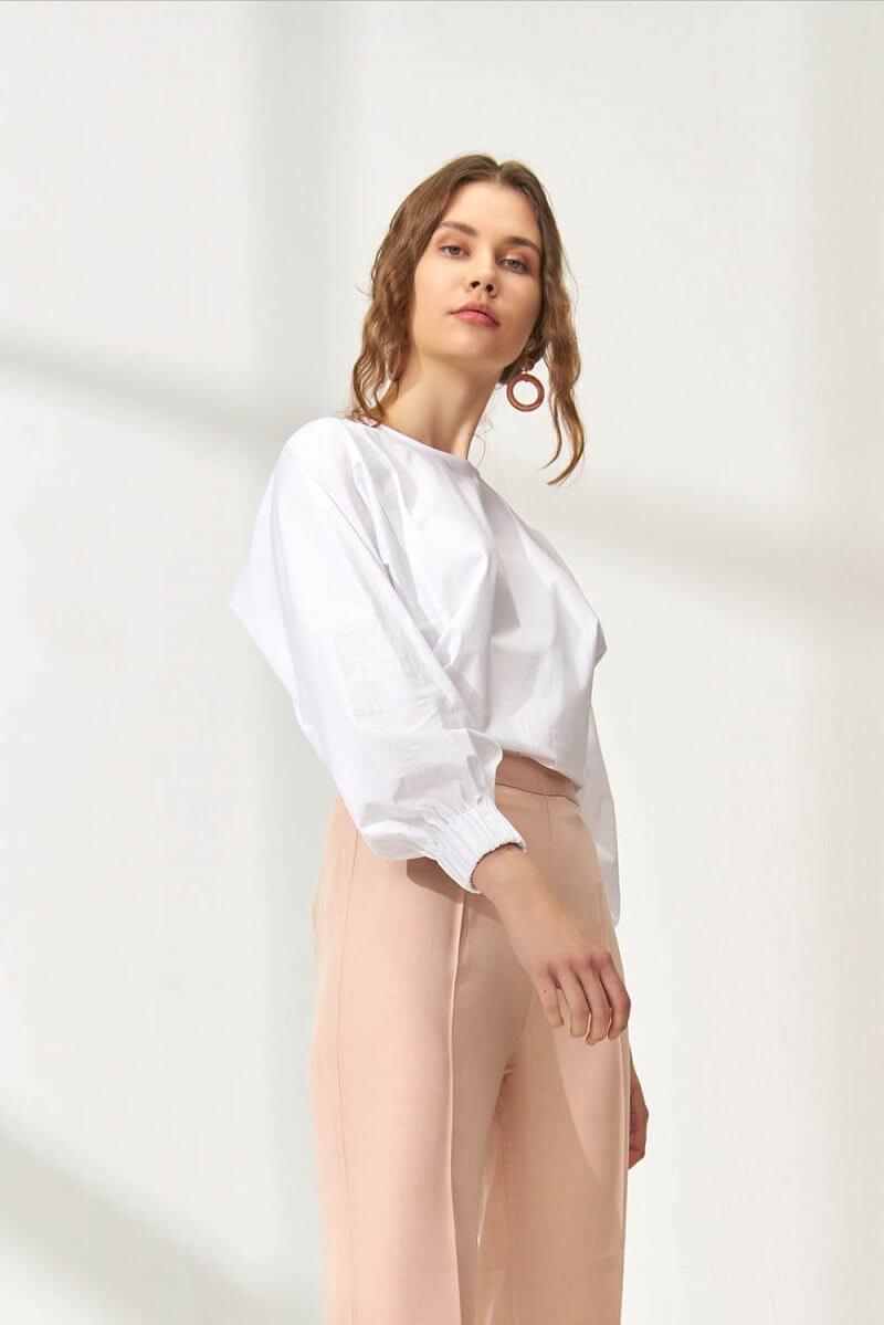 Beyaz Basic Crop Bluz