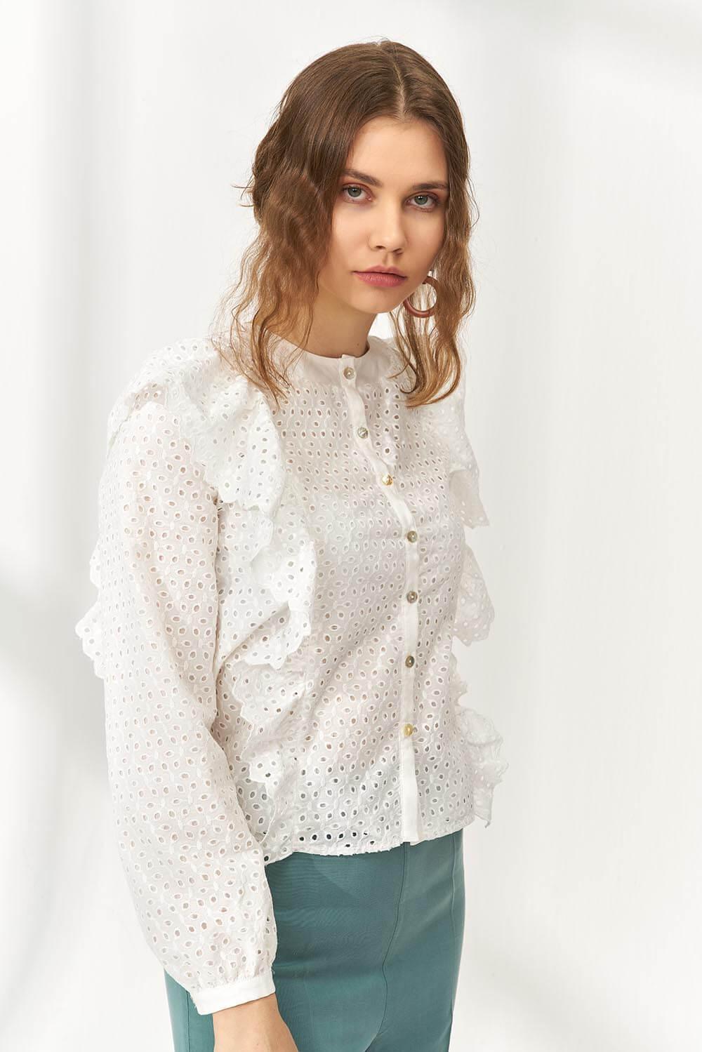 Bohem Nakışlı Cotton Gömlek Beyaz