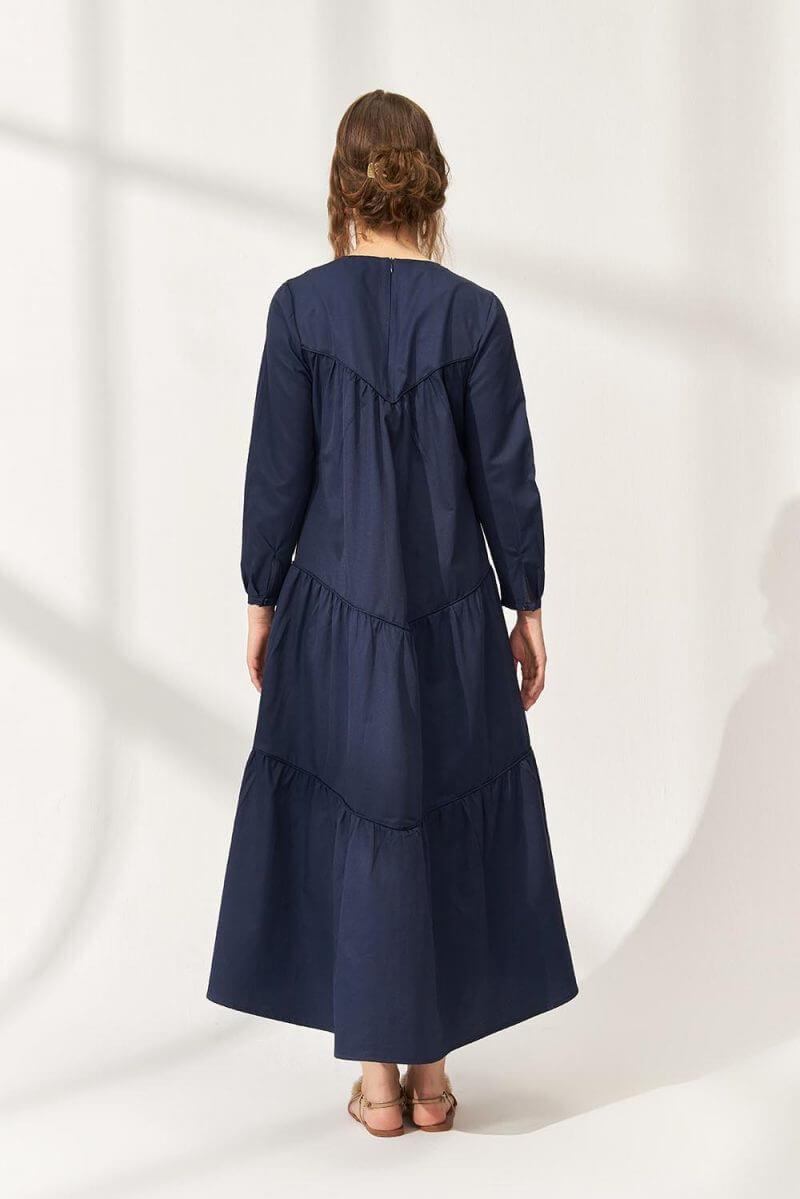 Casual Cotton Elbise Lacivert