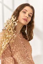Cotton Nakışlı Elbise Turuncu