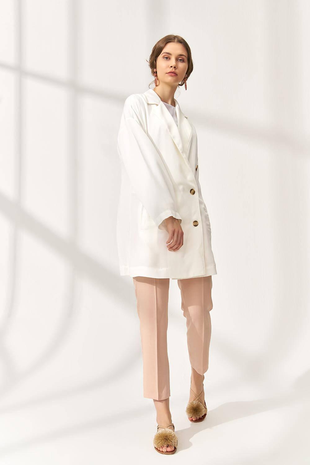 Tencel Blazer Ceket Beyaz