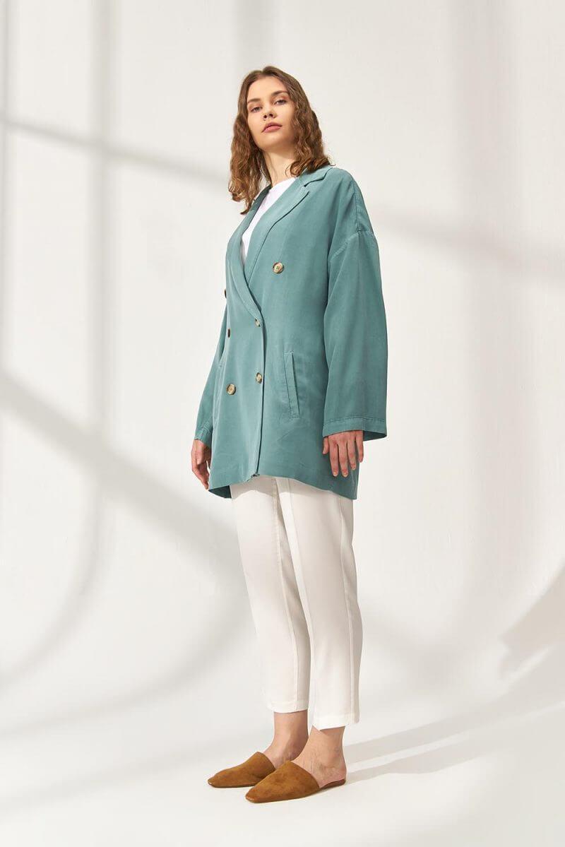 Tencel Blazer Ceket Yeşil